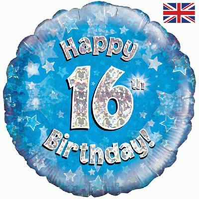 Oaktree Blue 16th Birthday Helium Balloon At London Balloons