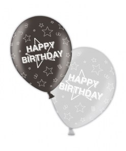 """10 Happy Birthday Shimmering Silver/Deepest Black 11"""" Helium Filled Balloons"""