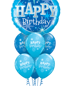 Happy Birthday Blue Bouquet at London Helium Balloons