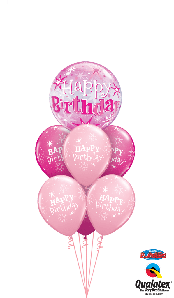 Pink Birthday Bouquet Helium Filled Foil Balloon