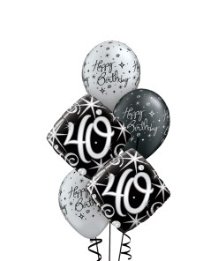 40th Birthday Black & Silver Bouquet at London Helium Balloons