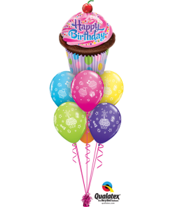 Birthday Cupcake Luxury bouquet at London Helium Balloons