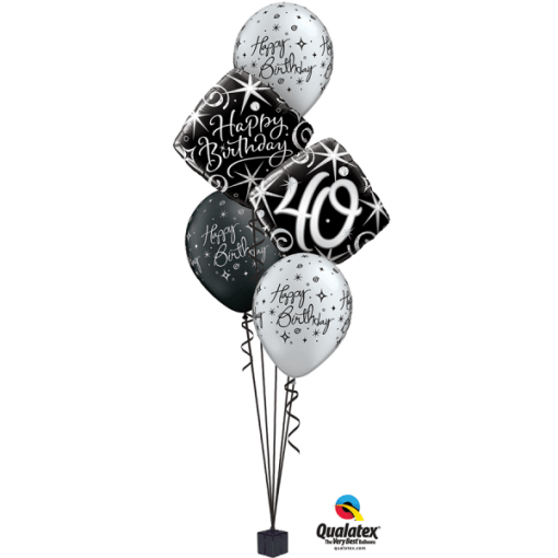 Black Silver Elegant Milestone Bouquet At London Helium Balloons