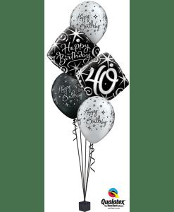 Black Silver Elegant Milestone Bouquet At London Helium Balloons