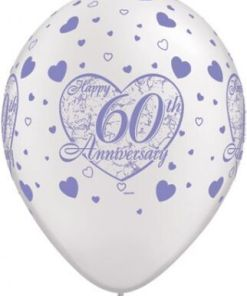 """10 6oth Anniversary Helium Filled 11""""latex Party Party Balloons"""