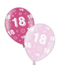 "10 18th Birthday Fab Fuchsia 11"" Helium Filled Balloons"