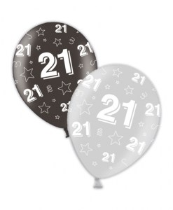 """10 21st Birthday Shimmering Silver/Deepest Black 11"""" Helium Filled Balloons"""