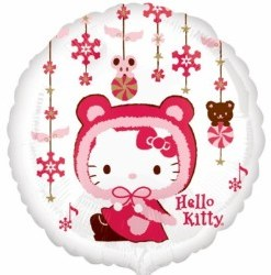 """Hello kitty winter kitty standard 18"""" Helium filled Foil Balloon delivered in London"""
