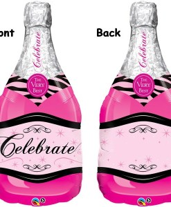 Celebrate Pink Bubbly helium filled foil balloon