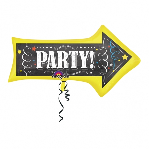 Chalkboard Birthday Arrow Supershape Helium Filled Balloon Bouquet With 2 Treated Latex And 2 Foil Balloons-2387