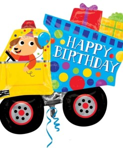 Happy Birthday Dog & Dumptruck Supershape Helium Filled Balloon Bouquet with 2 Treated Latex and 2 Foil Balloons
