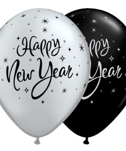 "10 New Year Sparkle 11"" Black & Silver Latex Balloons"