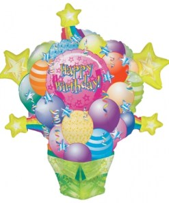 Surprise Package Supershape Helium Filled Balloon Bouquet with 2 Treated Latex and 2 Foil Balloons
