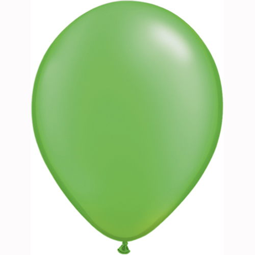 "10 Treated Radiant Pearlised Lime Green 11"" Helium Filled latex Balloons"