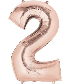 """Rose Gold Number 2 34"""" Helium Filled foil balloon"""