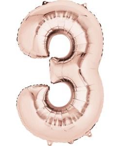 Rose Number Shape Foil Balloons