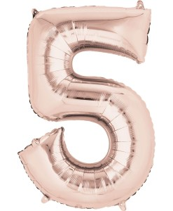 "Rose Gold Number 5 34"" Helium Filled foil balloon"