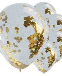 10 Metallic Gold Confetti Helium Balloons