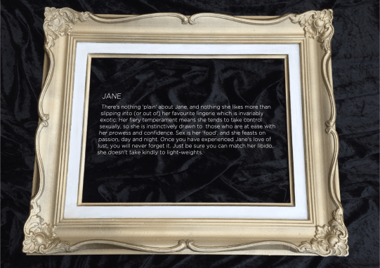 Erotic explanantion of jane in gold frame