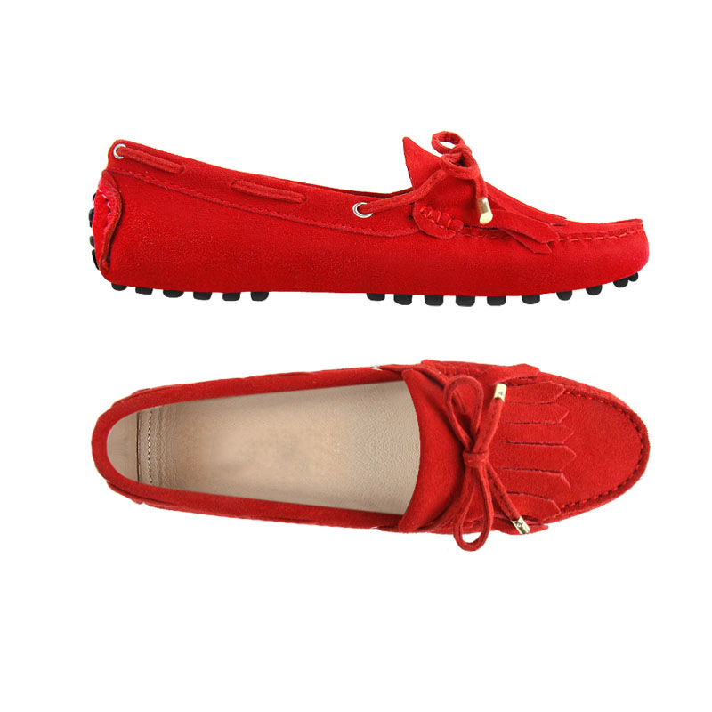 london loafers womens Brentwood Spitfire red suede pringed driving loafers 1