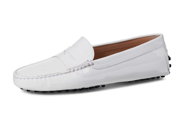 london loafers womens Sloane white patent leather penny driving loafers 3.psd