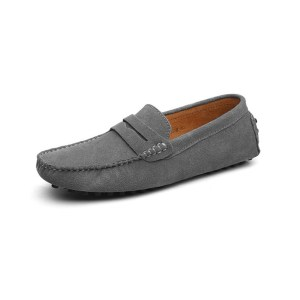 mens grey penny loafers - suede soho penny loafers by london loafers