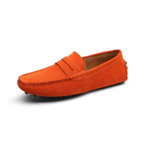 mens orange penny loafers - suede soho penny loafers by london loafers