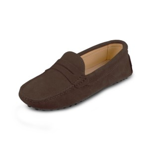 womens brown suede penny loafer – soho shoe by london loafers