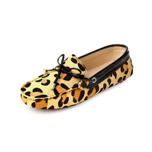 womens leopard animal print calf hair driving loafers - mayfair london loafers