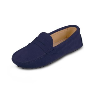 womens navy suede penny loafer – soho shoe by london loafers