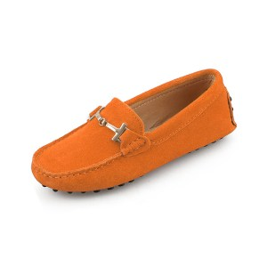 womens orange suede horsbit driving shoes - windsor shoe by london loafers