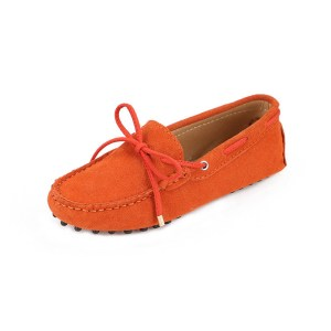 womens orange suede lace up driving shoes - kensington shoe by london loafers