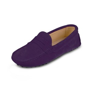 womens purple suede penny loafers - soho loafers by london loafers