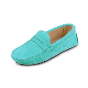 womens turquoise suede penny loafer - soho shoe by london loafers