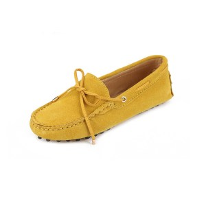 womens yellow suede lace up driving shoes - kensington shoe by london loafers