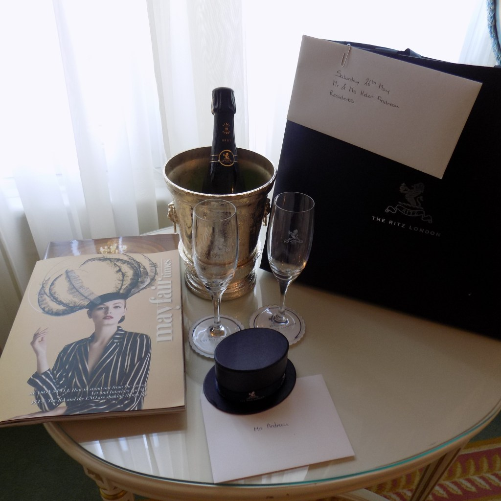 Ritz Hotel champagne and chocolates