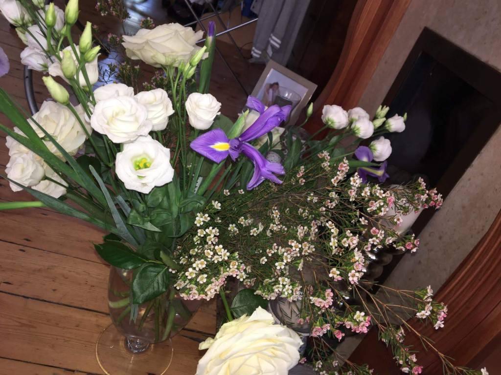 Freddie's Flowers, Avalanche Rose, waxflower, Iris, Lisianthus
