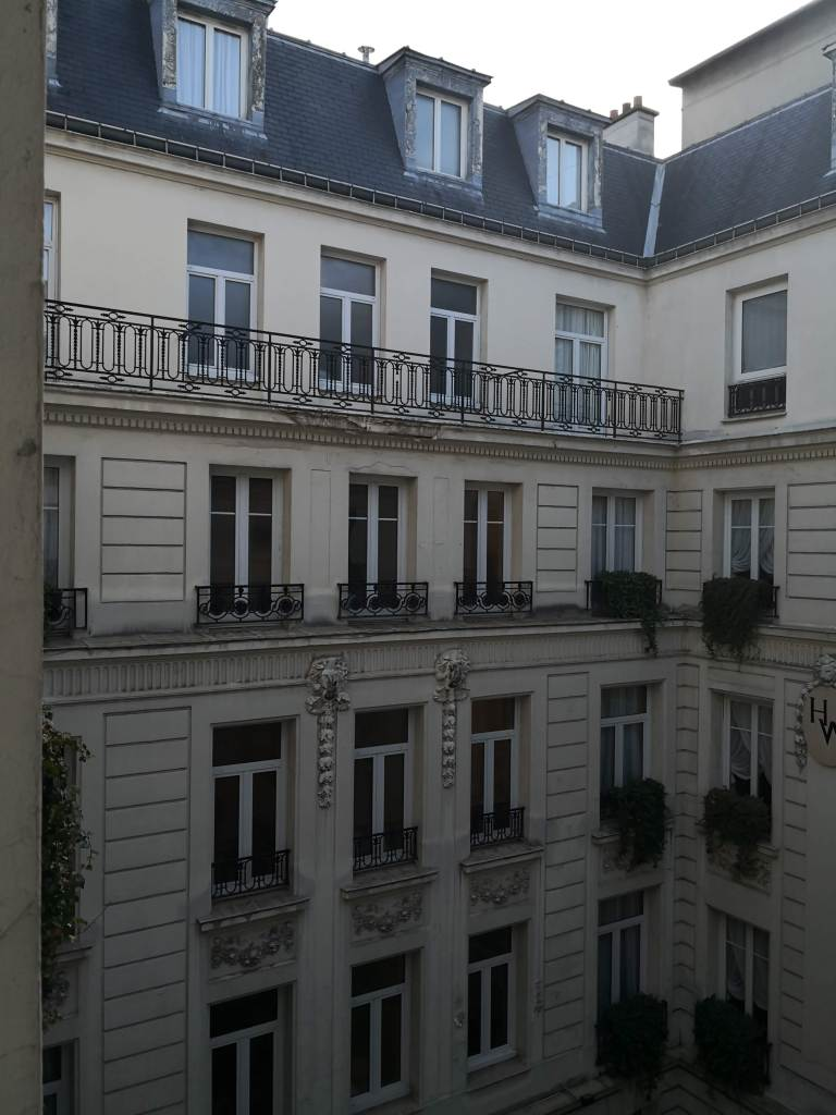 Looking out to the courtyard of my Suite at the Hotel Westminster