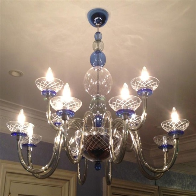 Unique Glass Chandelier Installed Flush On Ceiling Of Nyc Apt