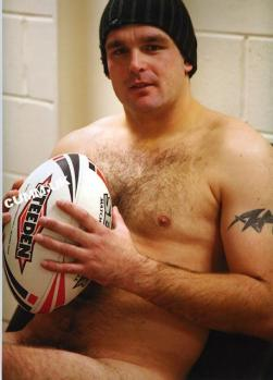 Rugby players, hairy chests, locker rooms, jocks and jockstraps - all men together