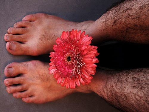 male flower and male feet