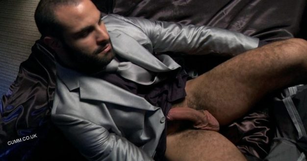suited man pants down erection exposed