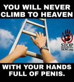You will never climb to heaven with your hands full of penis, butt don't worry. You are already there