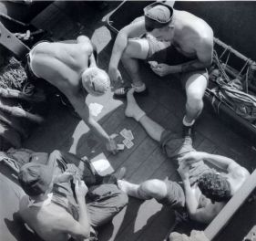 touch vintage Sailors playing cards on board the USS New Jersey 1944.