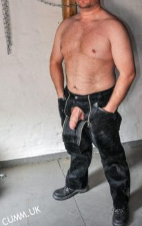 leather daddy mature foreskin cock exposed