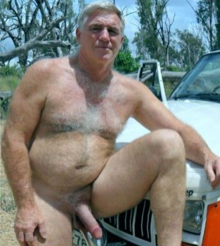 mature naked in carpark