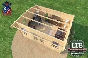 London Timber Buildings Log Cabin Wembley Range 5m x 4m WEM032 006