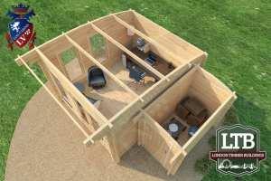 London Timber Buildings Log Cabin Wembley Range 5m x 4m WEM033 006