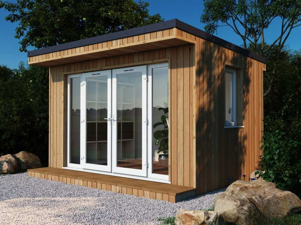 The Finsbury Garden Room shown with larch cladding