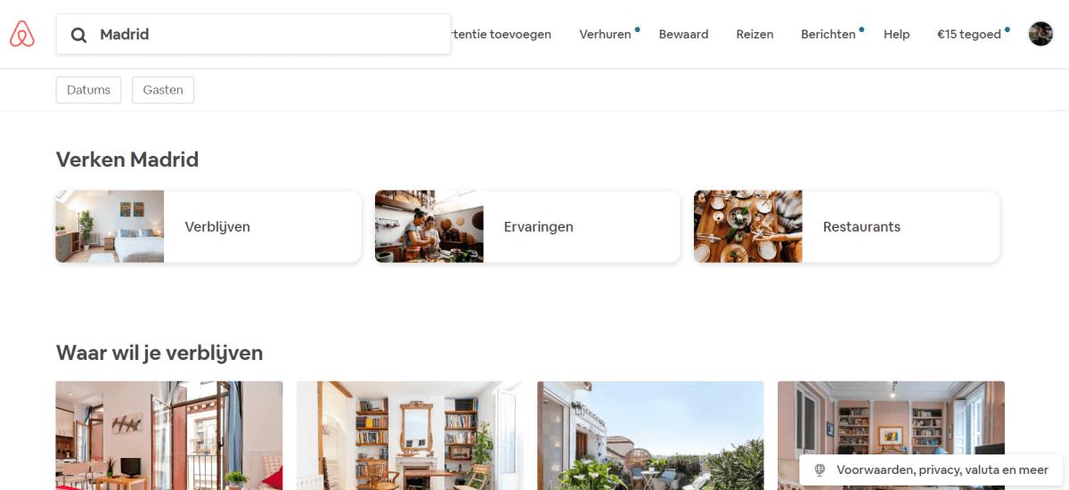 screenshot airbnb website boeken